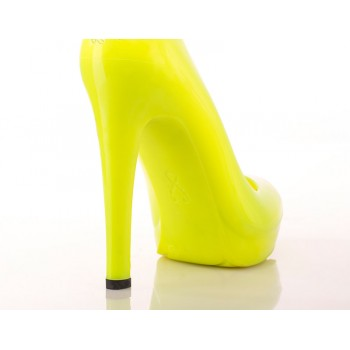 Neon Yellow Stiletto High Heels - Jelly Shoes