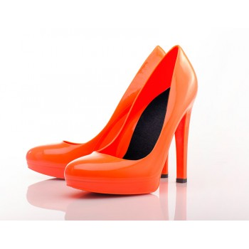 Fluo Orange Stiletto High Heels - Jelly Shoes