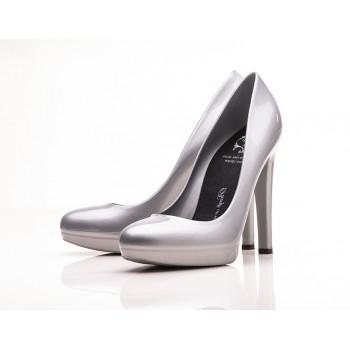 Lady Greystone Stiletto High Heels (Silver Metallic) - Jelly Shoes